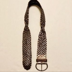 "GAP Genuine Leather Wide Woven Belt Silver 36.5"""